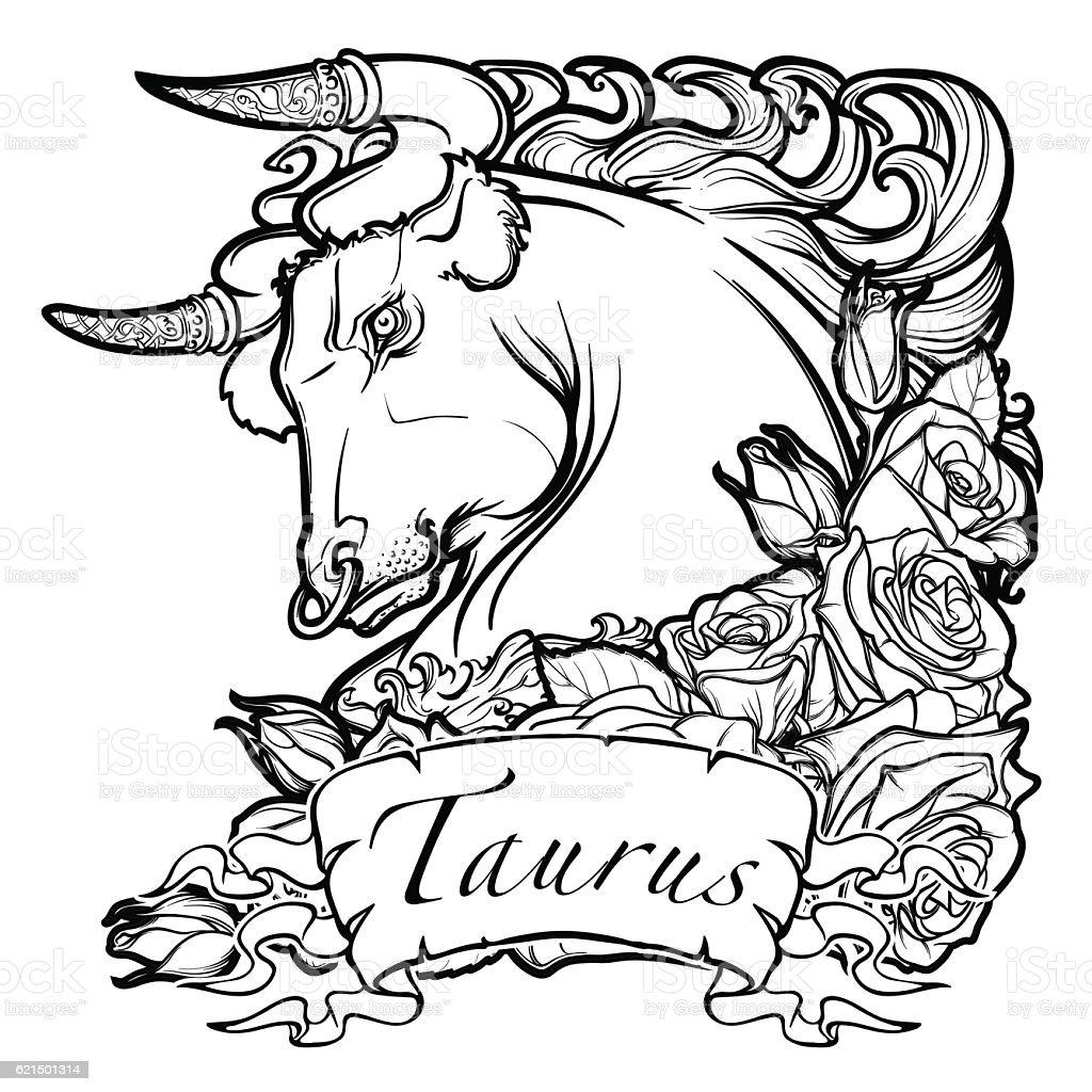 Astrological Taurus isolated on white background. vector art illustration