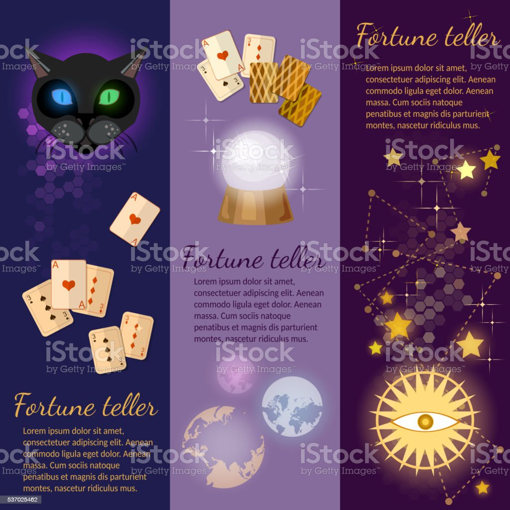 Astrology and alchemy banners magic fortune telling vector art illustration