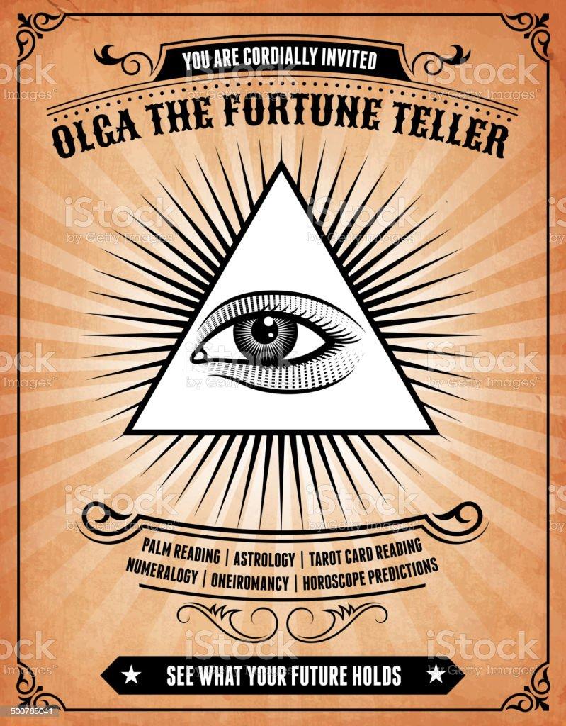 Astrology Fortune Teller on royalty free vector Background Poster vector art illustration
