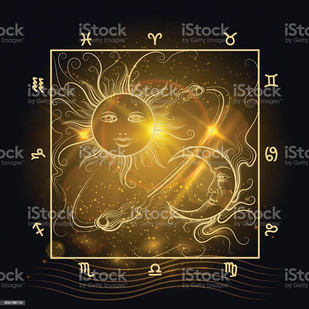 Astrology map shining sun and moon vector art illustration