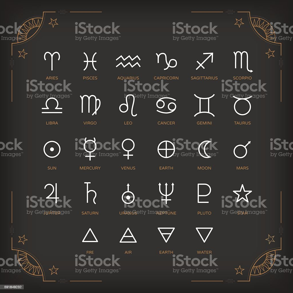 Astrology symbols and mystic signs. Vector icons collection. vector art illustration