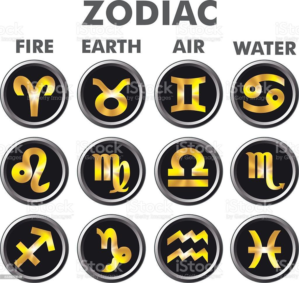 Astrology. Zodiak signs. Gold zodiac signs on black buttons. vector art illustration