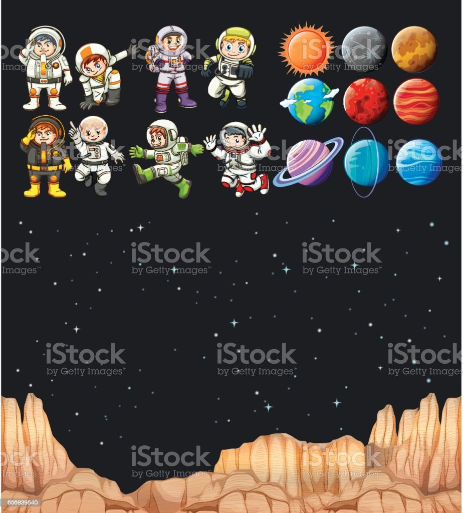Astronaunts and different planets in universe vector art illustration