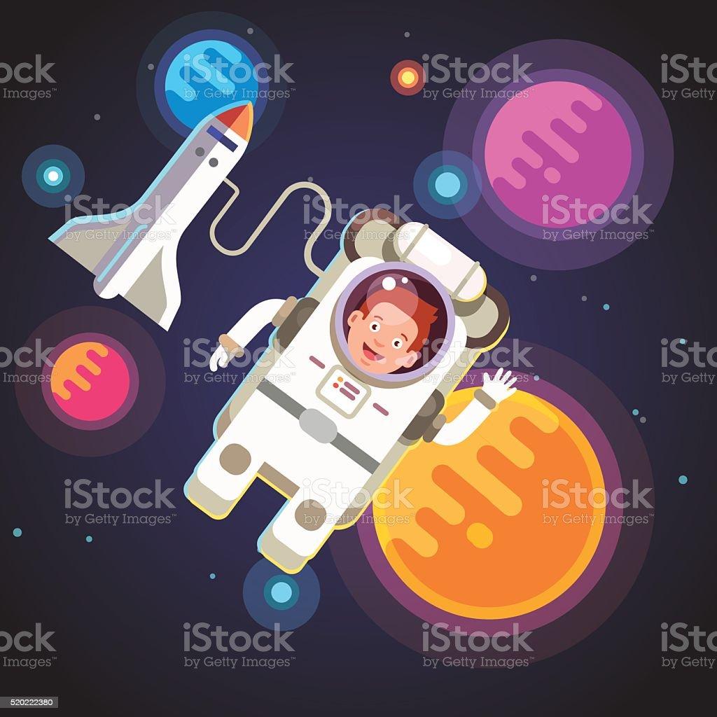 Astronaut boy flying in space vector art illustration