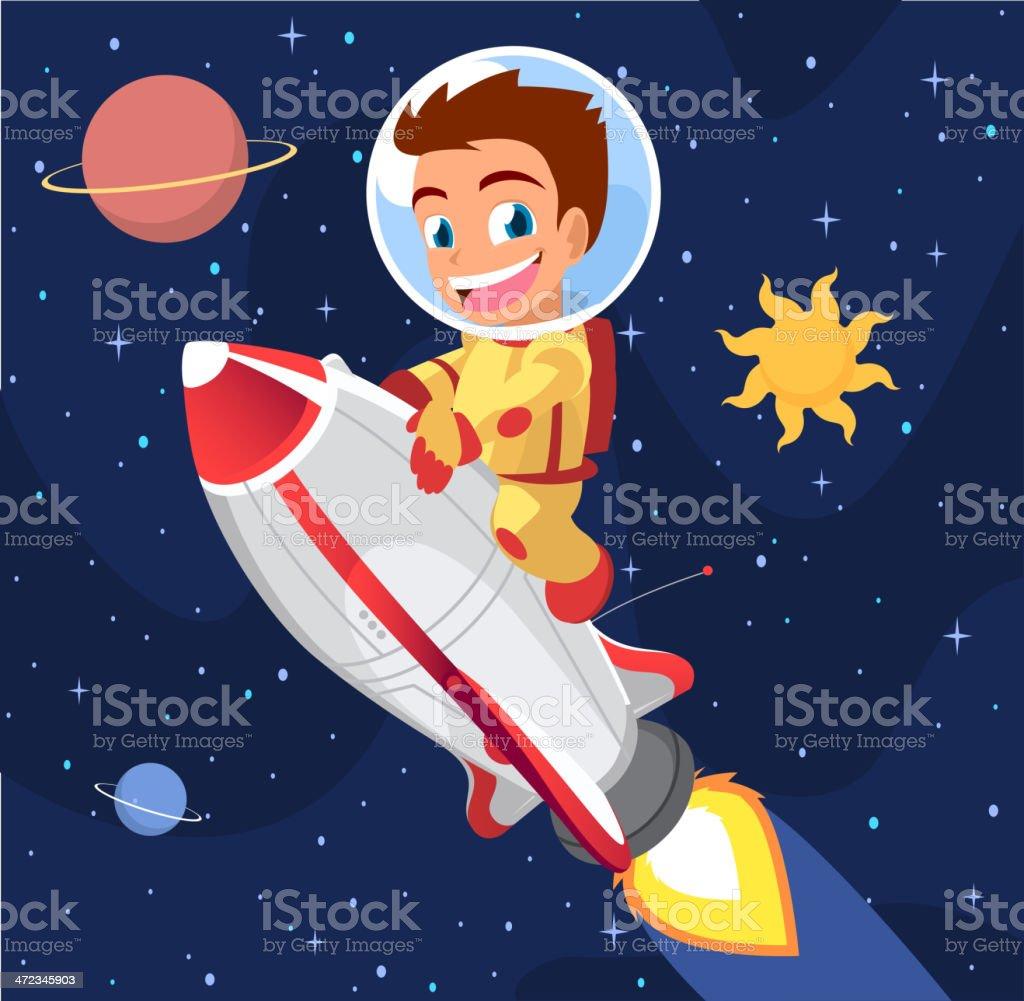 Astronaut Boy on Space Rocket vector art illustration