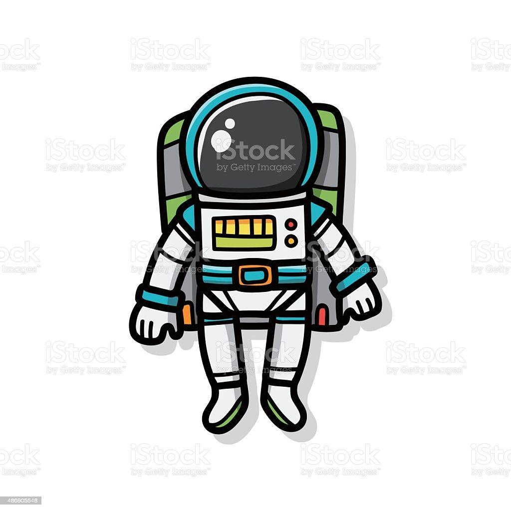 astronaut doodle vector art illustration