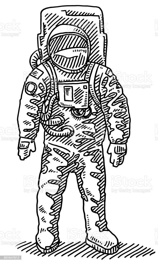 Astronaut Drawing vector art illustration