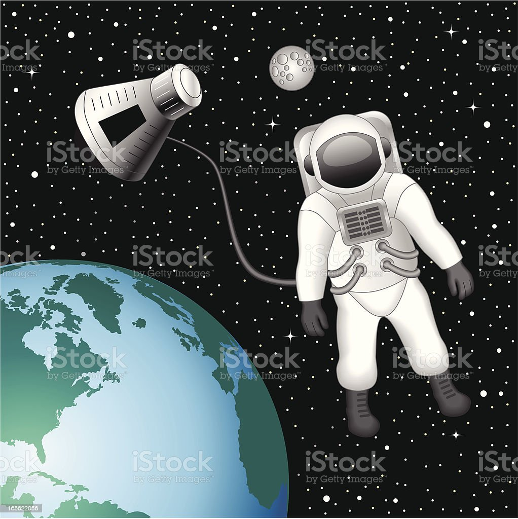 Astronaut floating above the Earth royalty-free stock vector art