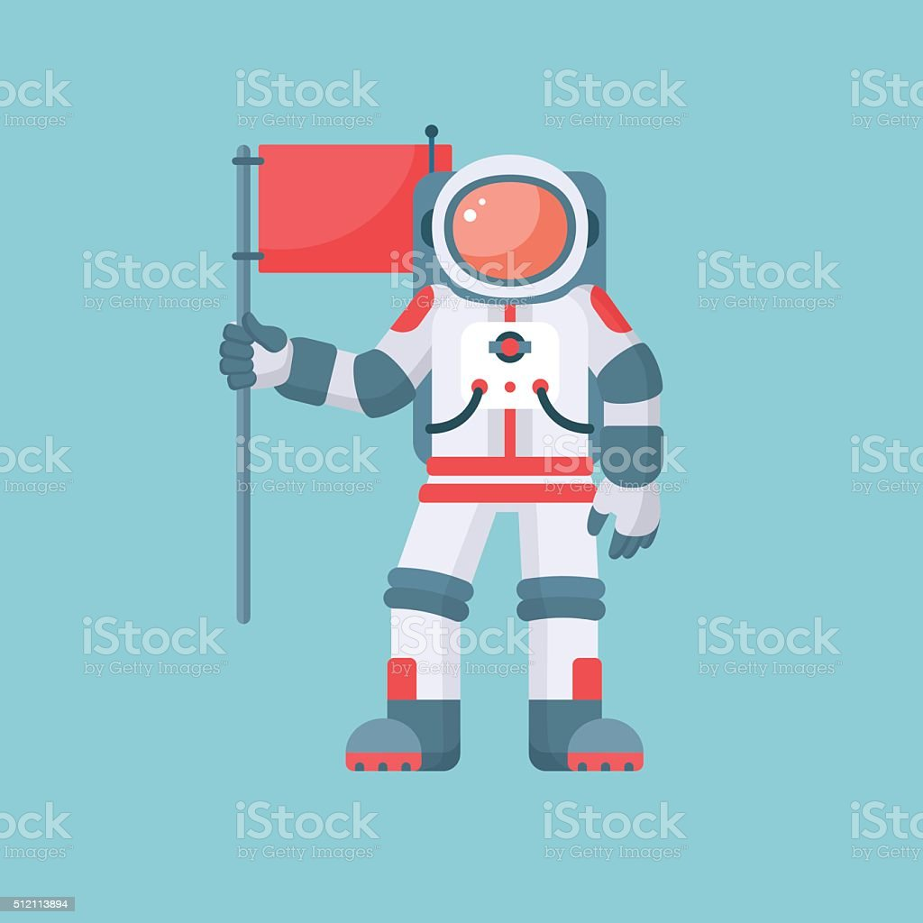 Astronaut holding red flag vector illustration isolated on blue background vector art illustration