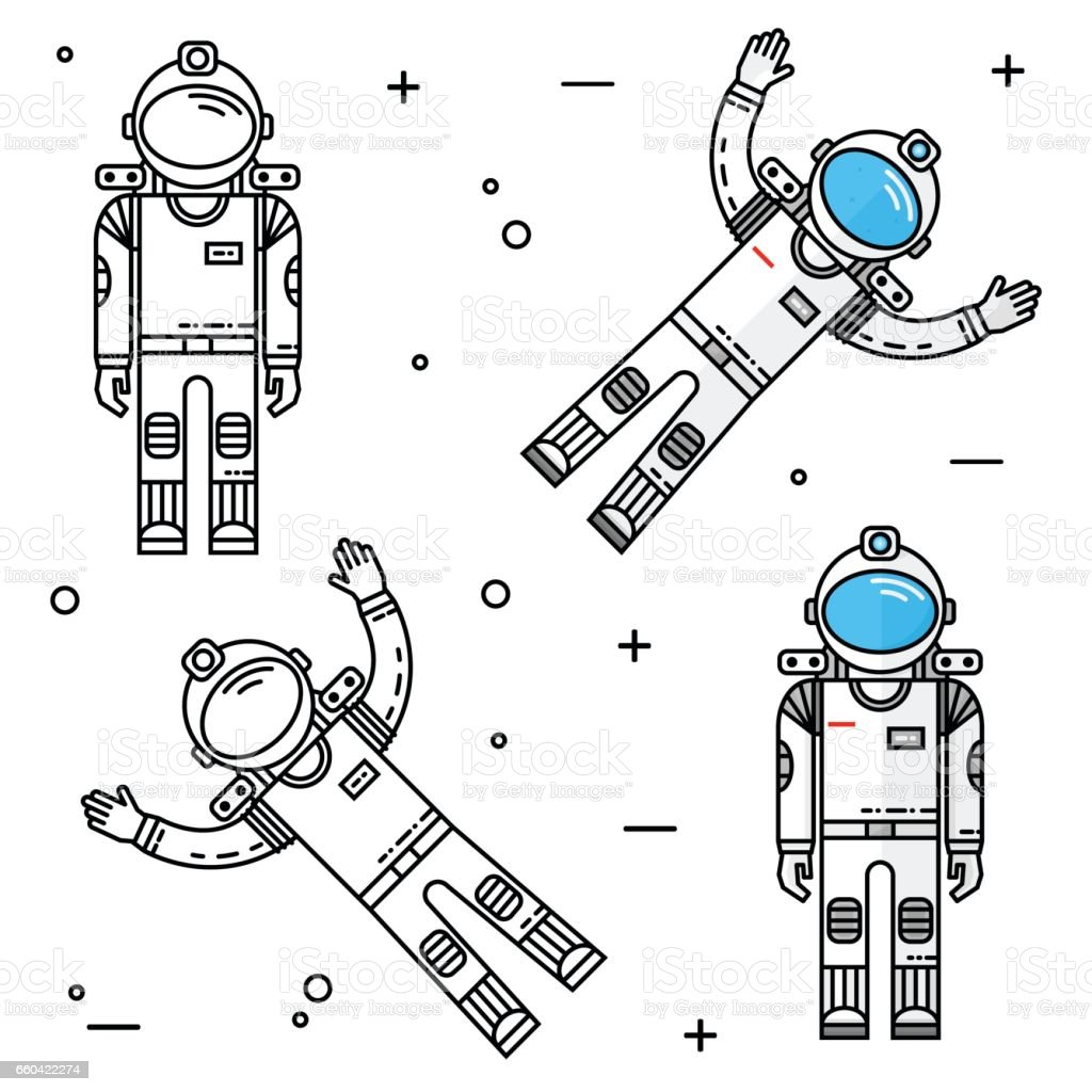 Astronaut in space. Human mission to Mars vector art illustration