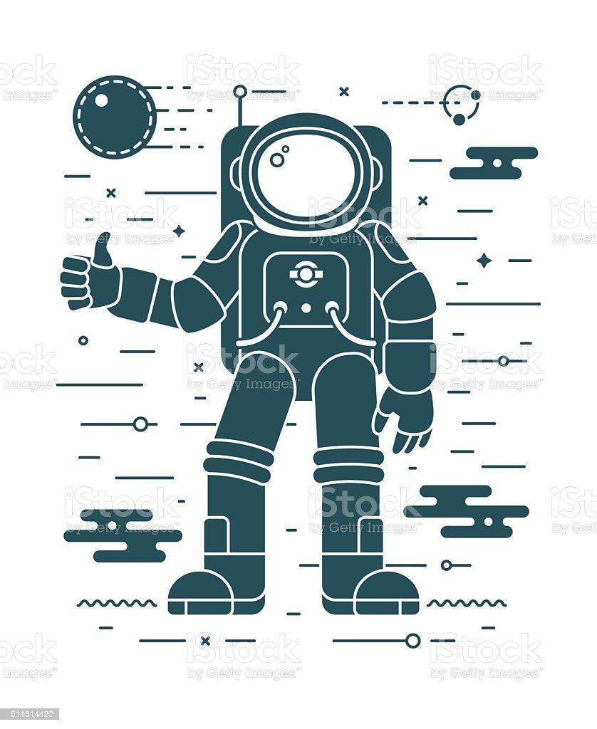 Astronaut landing planet vector illustration in negative space style. vector art illustration