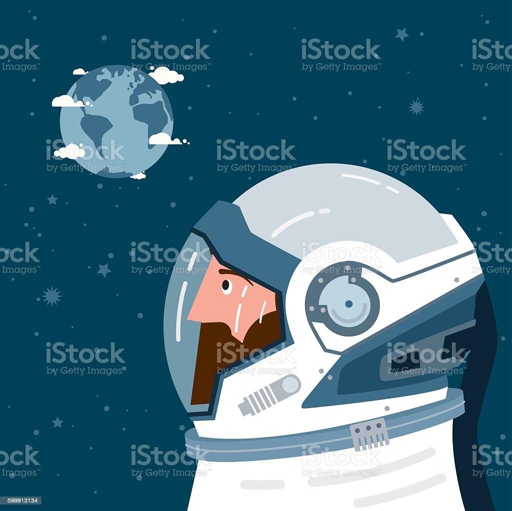 Astronaut looking at Earth vector art illustration