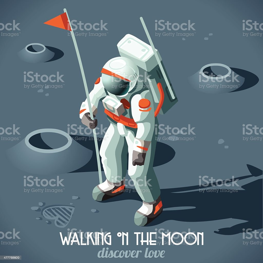 Astronaut Moon Landing Isometric vector art illustration