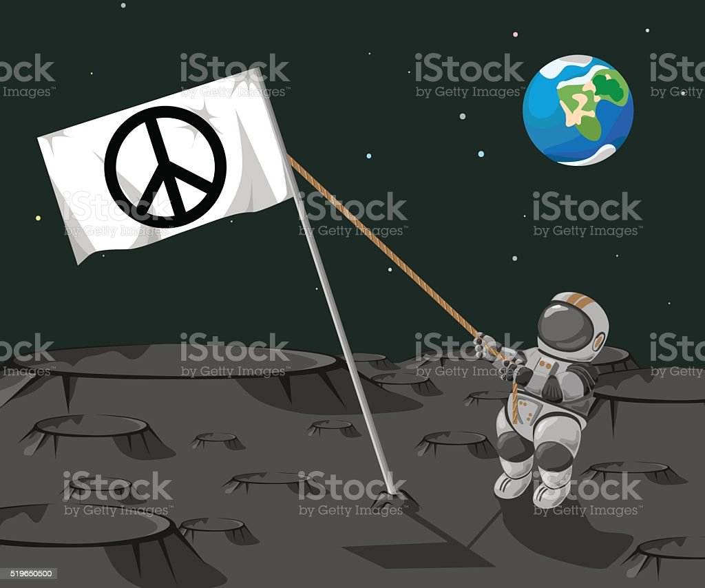 Astronaut sets a flag 'Pacific ' on the moon. vector art illustration
