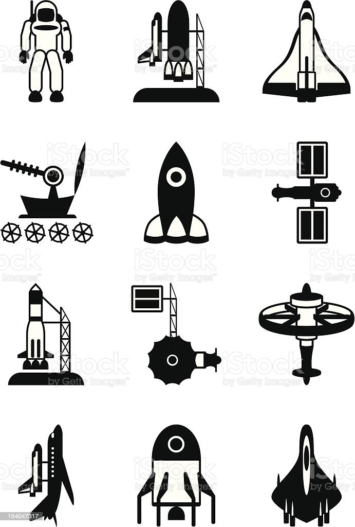 Astronaut, space shuttle and spaceship vector art illustration