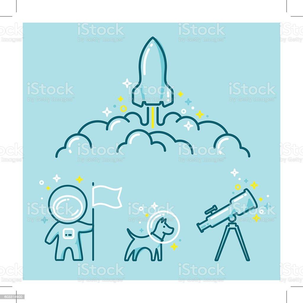 Astronautics Space Illustration Set vector art illustration