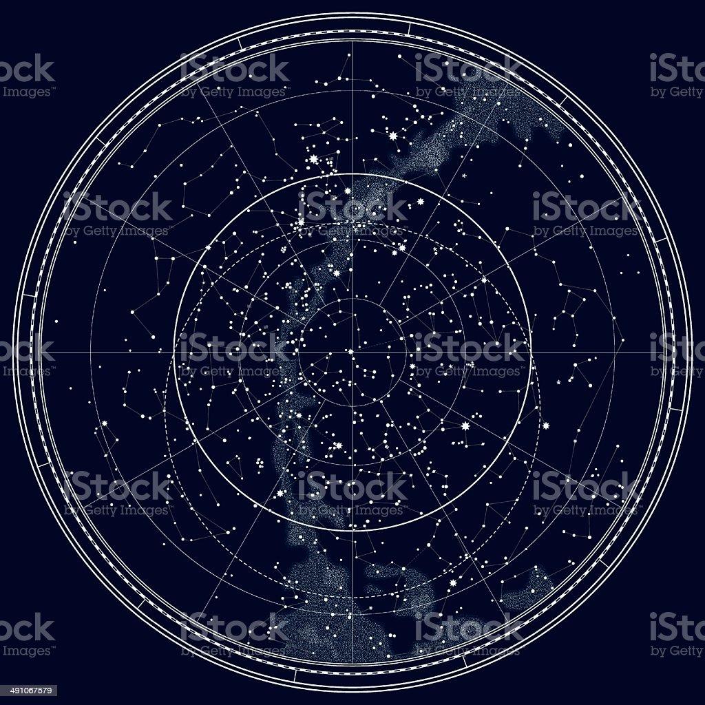 Astronomical Celestial Map of The Northern Hemisphere (Black Ink version) vector art illustration