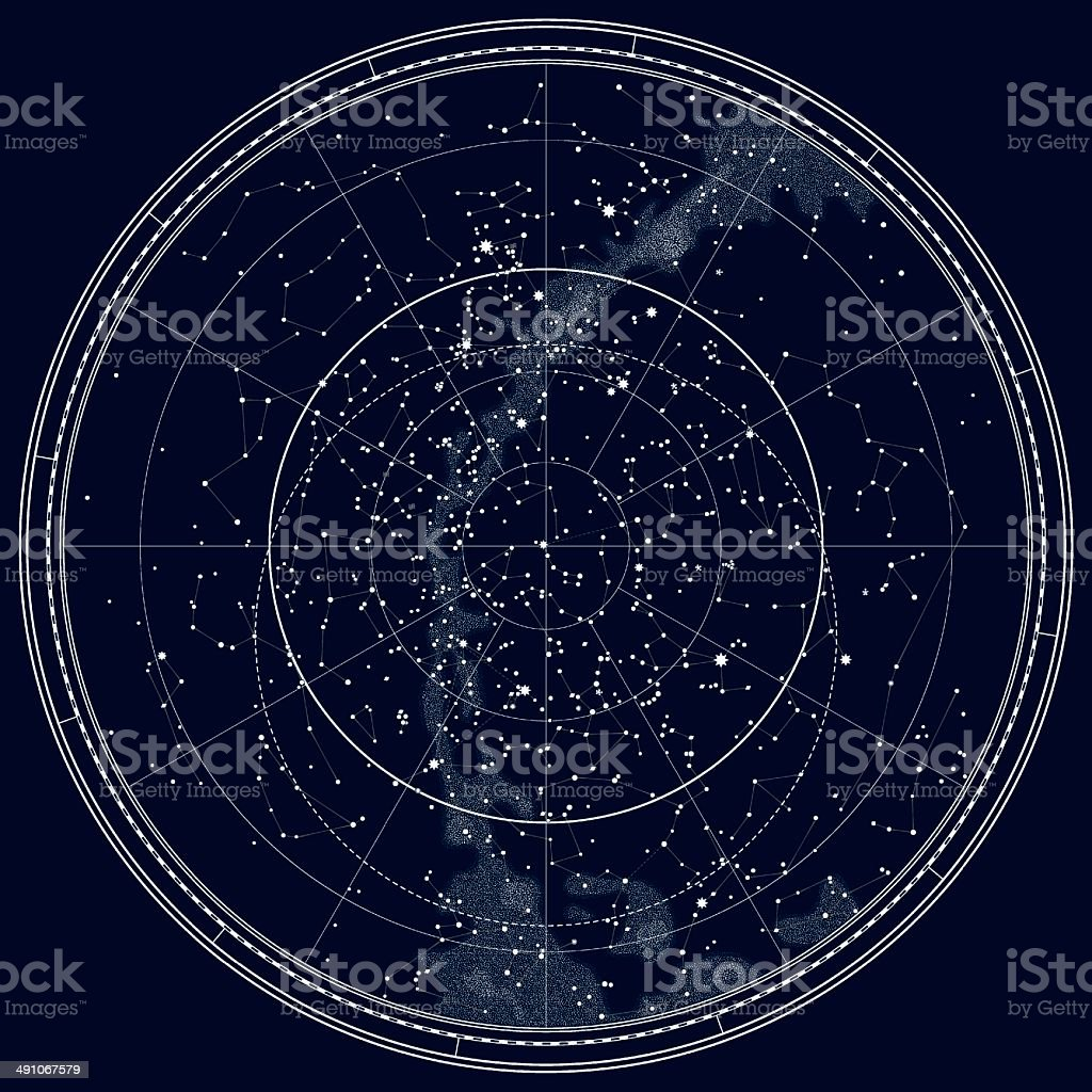 Astronomical Celestial Map of The Northern Hemisphere (Black Ink version) vector art illustration