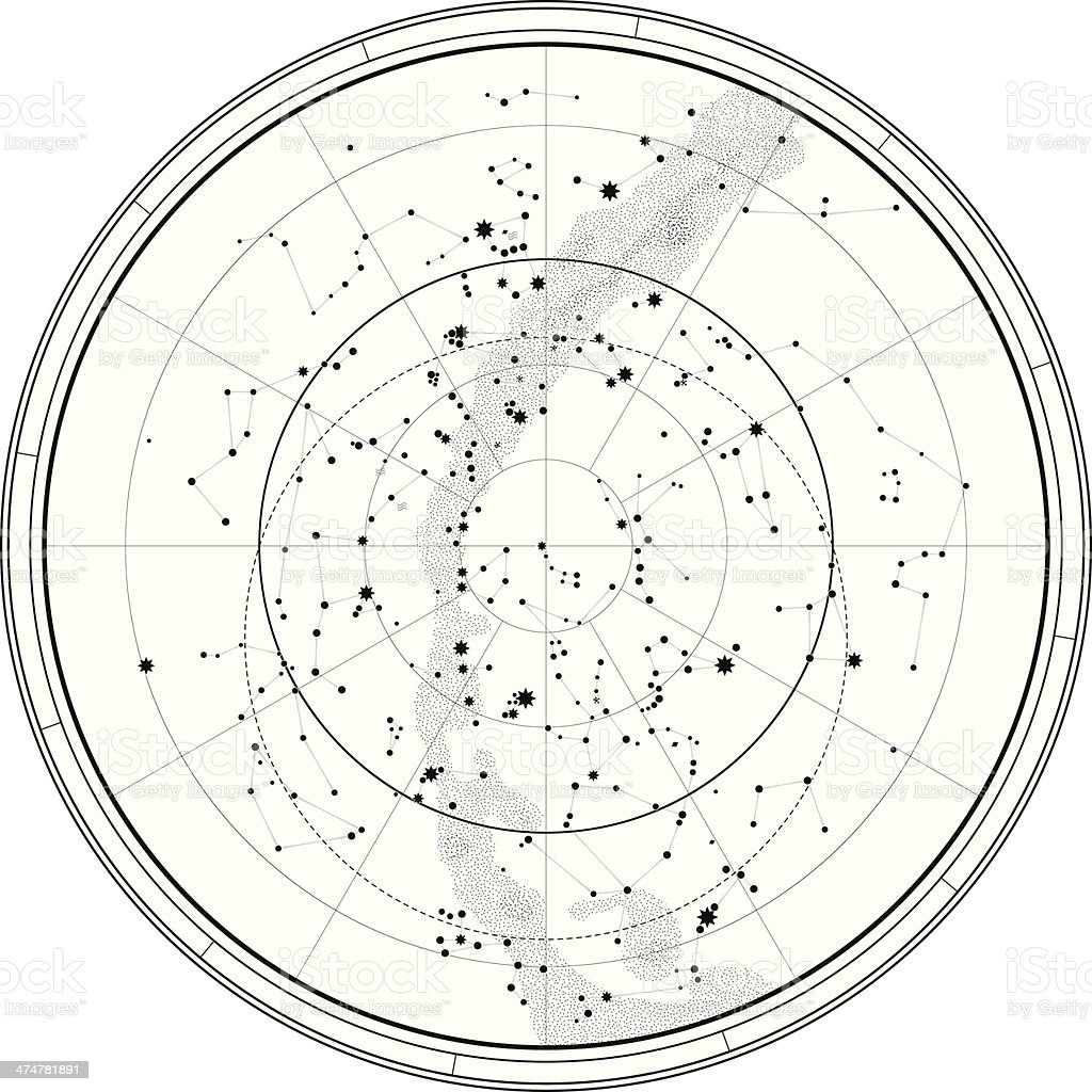 Astronomical Celestial Map vector art illustration
