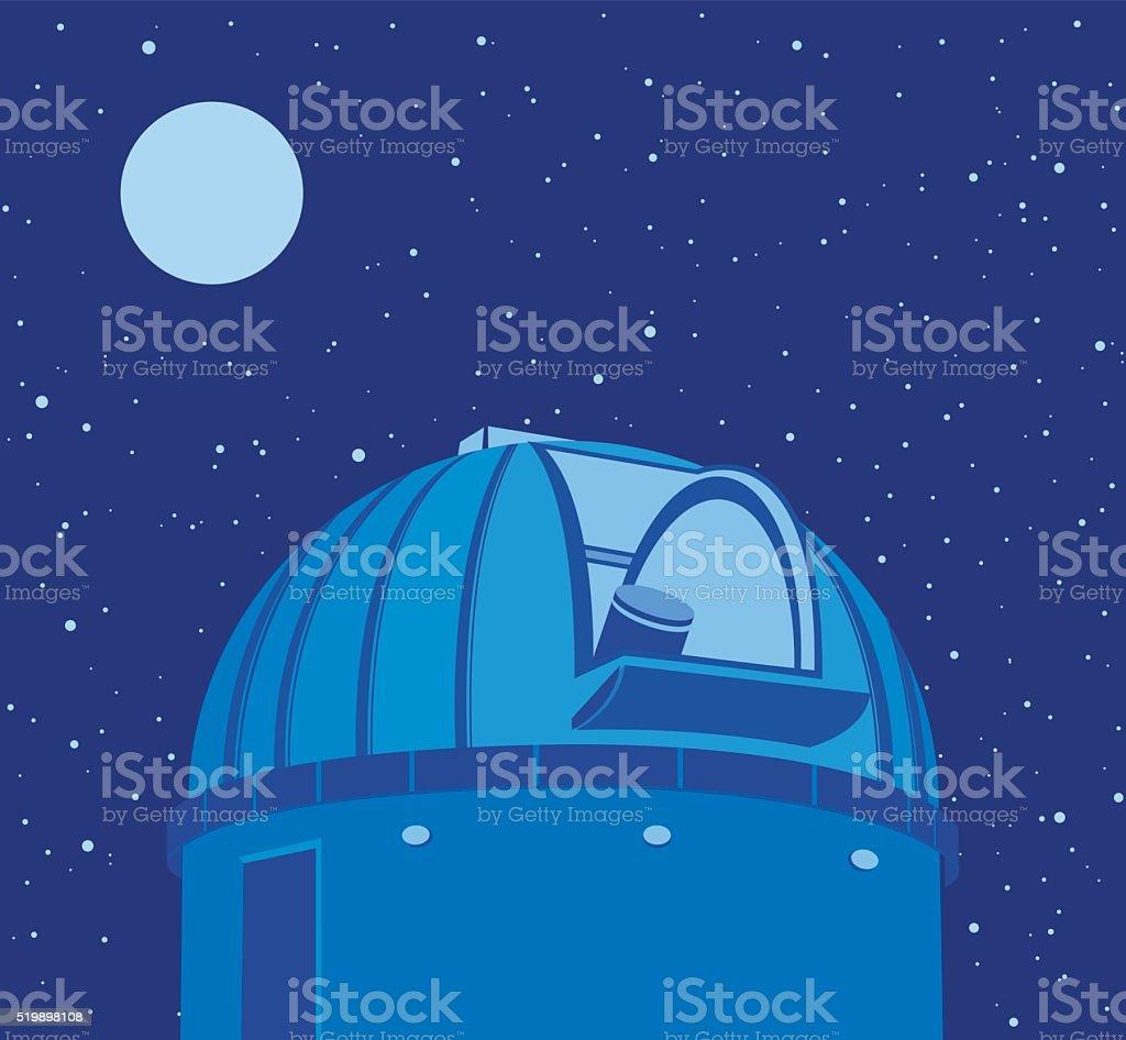 Astronomical observatory - Telescope vector art illustration