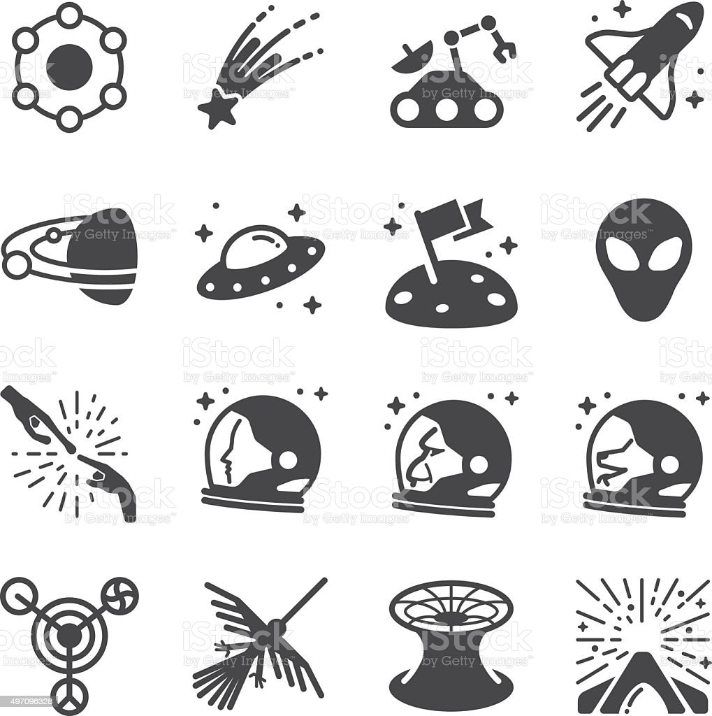 Astronomy and space icons vector art illustration