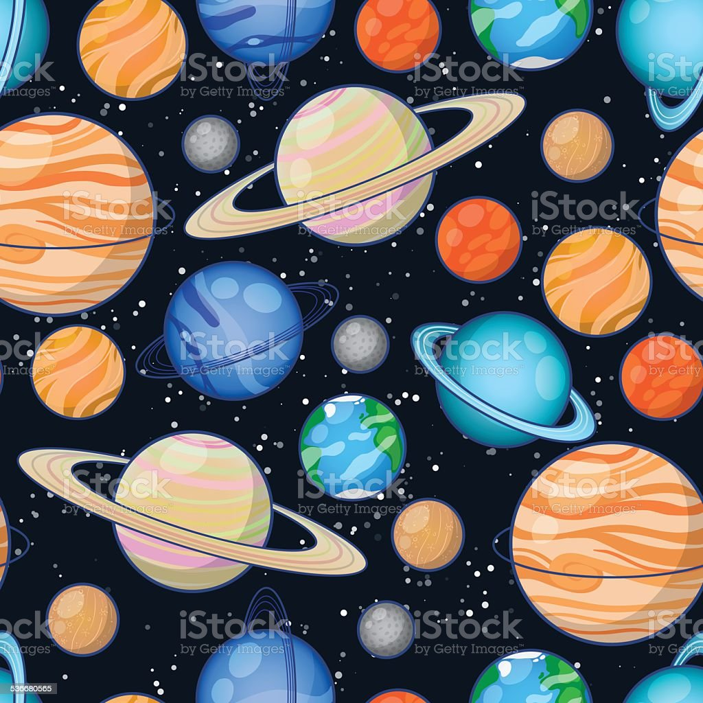 Astronomy planet pattern vector art illustration