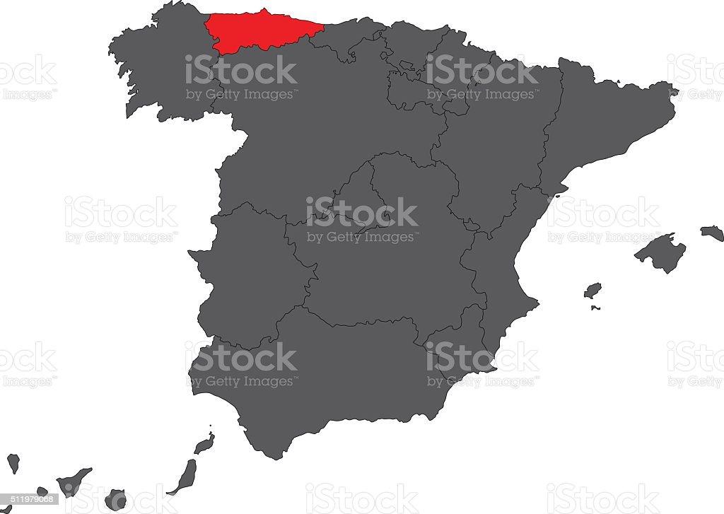 Asturias red map on gray Spain map vector vector art illustration