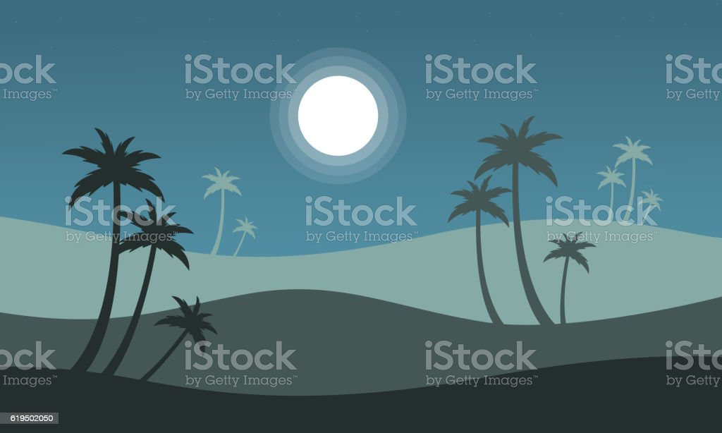 At night seaside scenery with palm vector art illustration