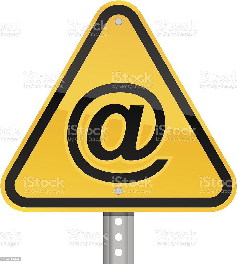 At pictogram warning triangle yellow road sign white background royalty-free stock vector art