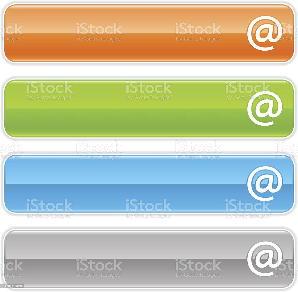 At sign glossy icon orange green blue gray rectangle button royalty-free stock vector art