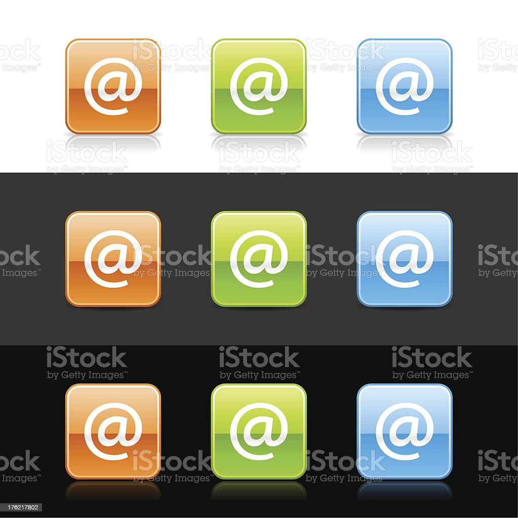 At sign square icon orange green blue button shadow reflection royalty-free stock vector art