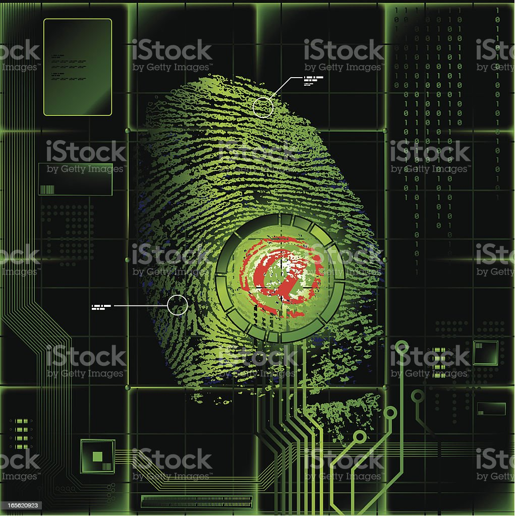 'At' Symbol on Fingerprint royalty-free stock vector art