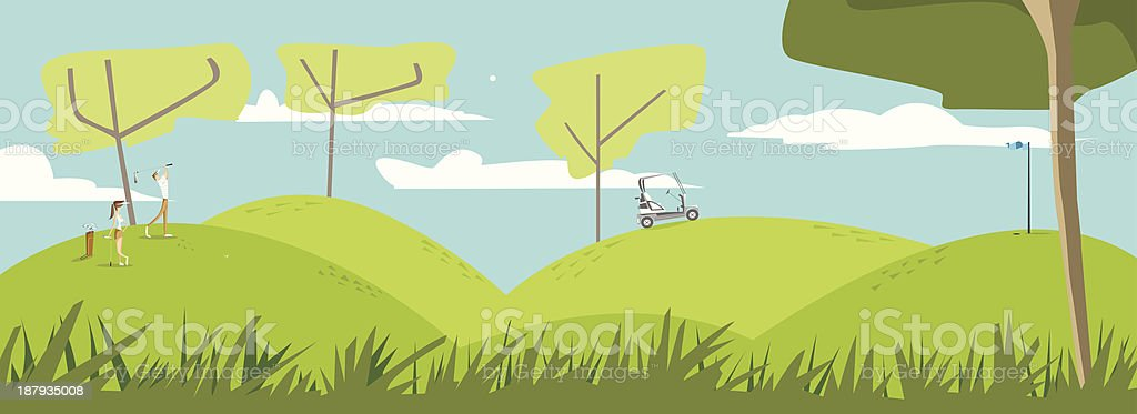 At the golf course vector art illustration