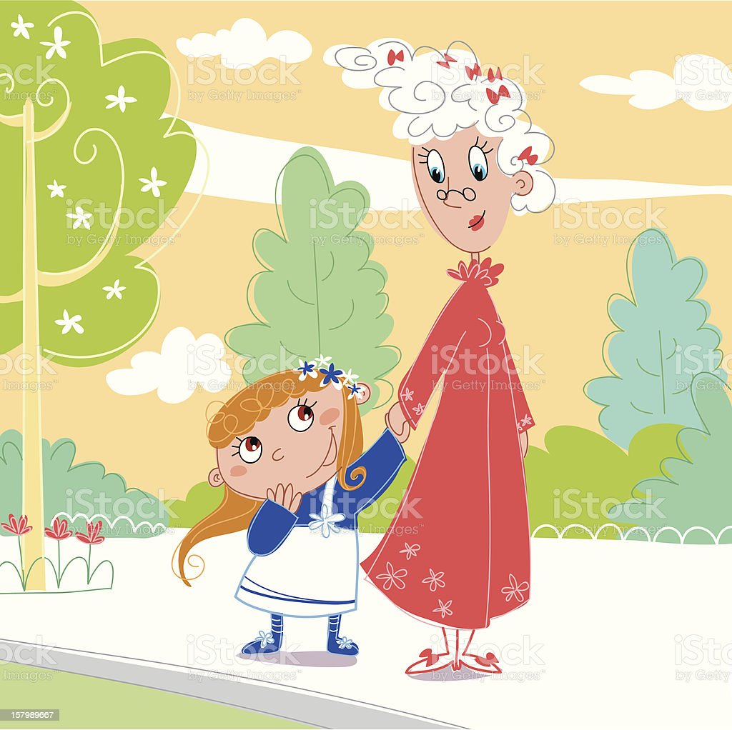 At the park: Granny with her granddaughter royalty-free stock vector art