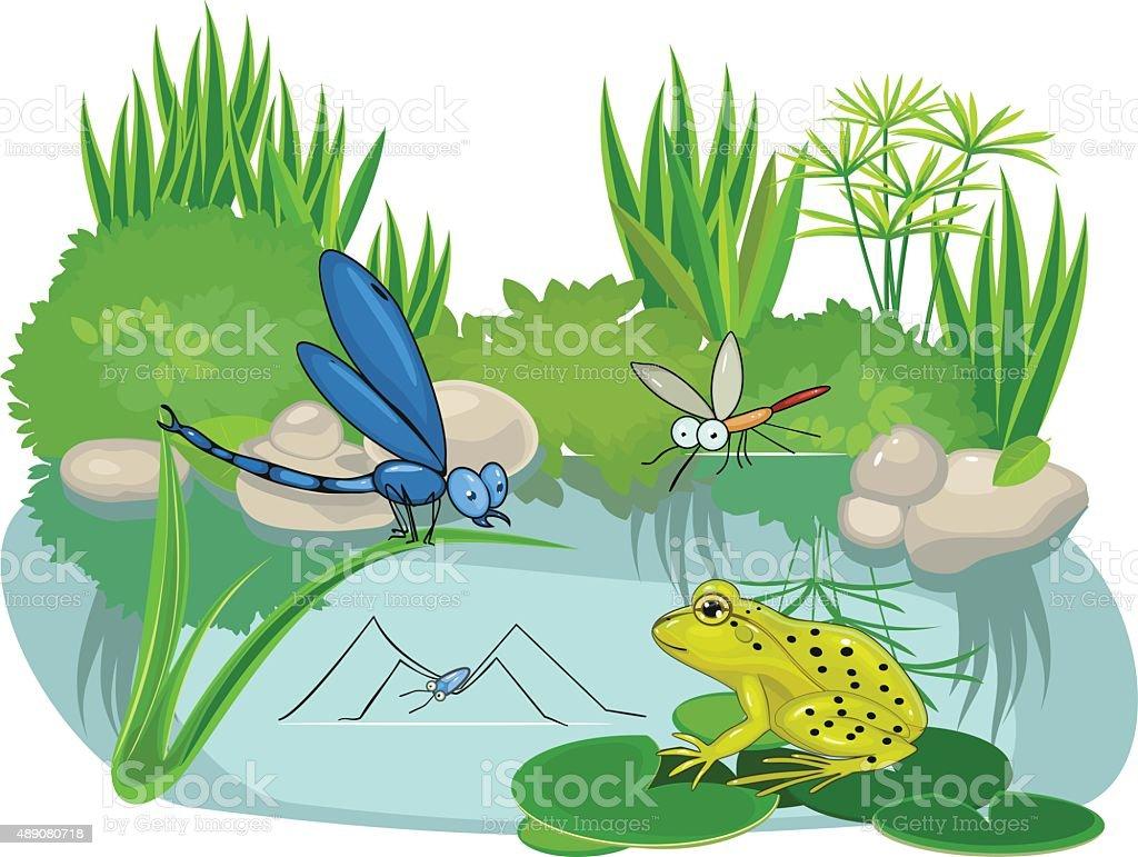 At the pond vector art illustration