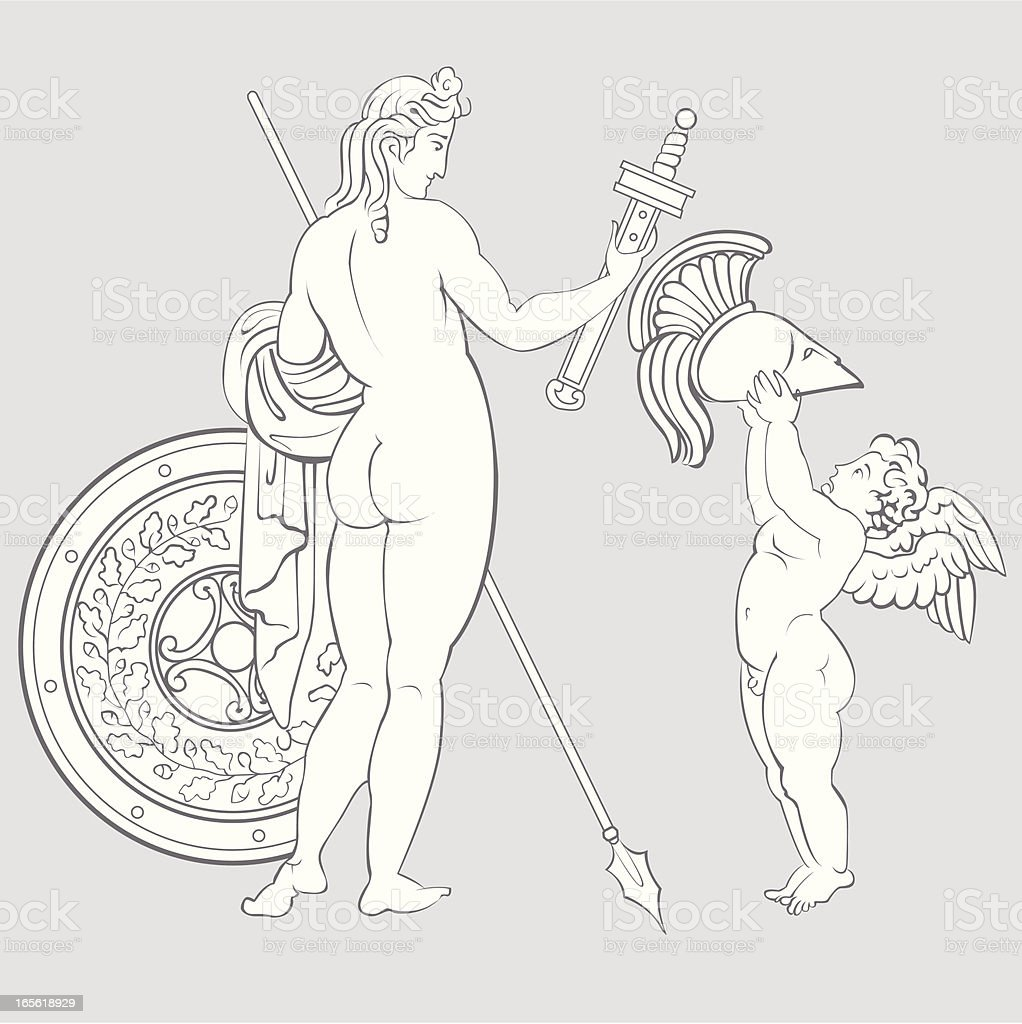 Athena with an angel royalty-free stock vector art