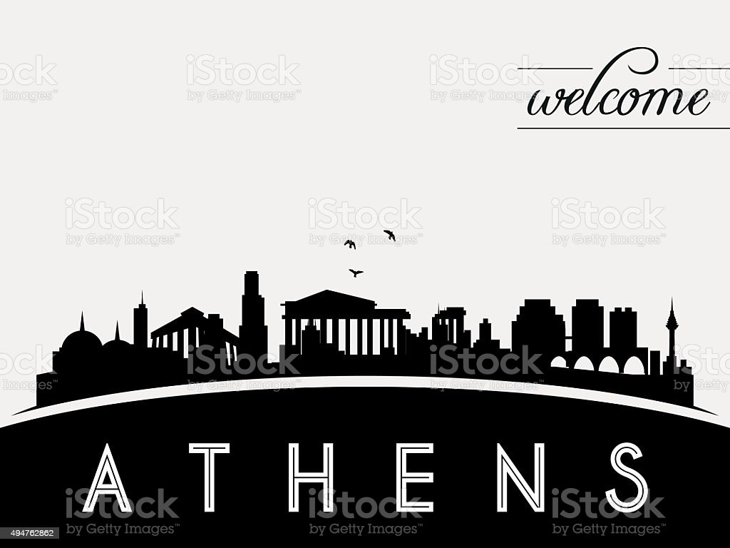 Athens Greece skyline silhouette black and white design vector art illustration