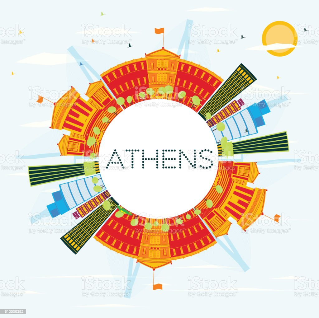 Outline athens skyline with blue buildings and copy space stock vector - Athens Skyline With Color Buildings Blue Sky And Copy Space Royalty Free Stock