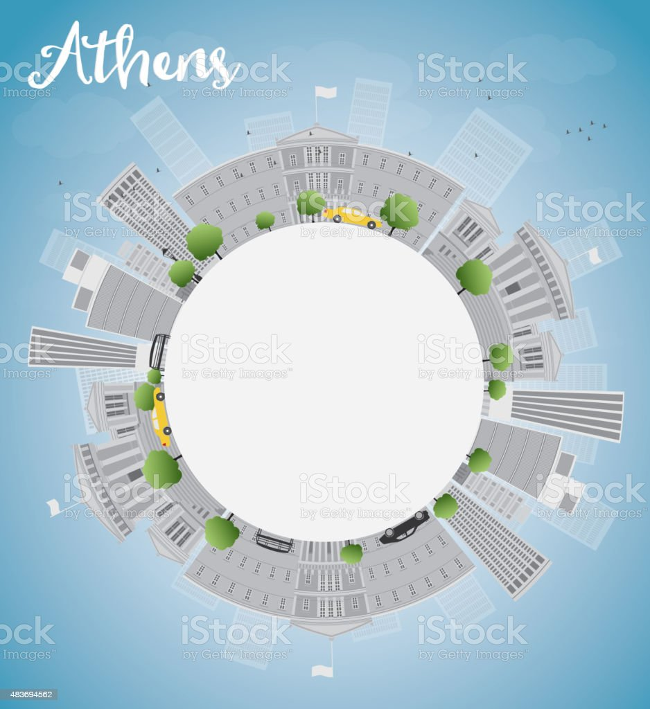 Outline athens skyline with blue buildings and copy space stock vector - Athens Skyline With Grey Buildings Blue Sky And Copy Space Royalty Free Stock Vector