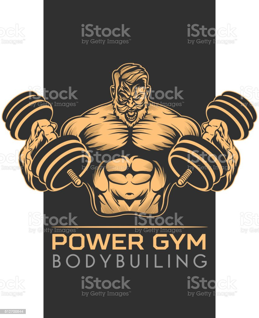 Athlet bodybuilder Emblem vector art illustration
