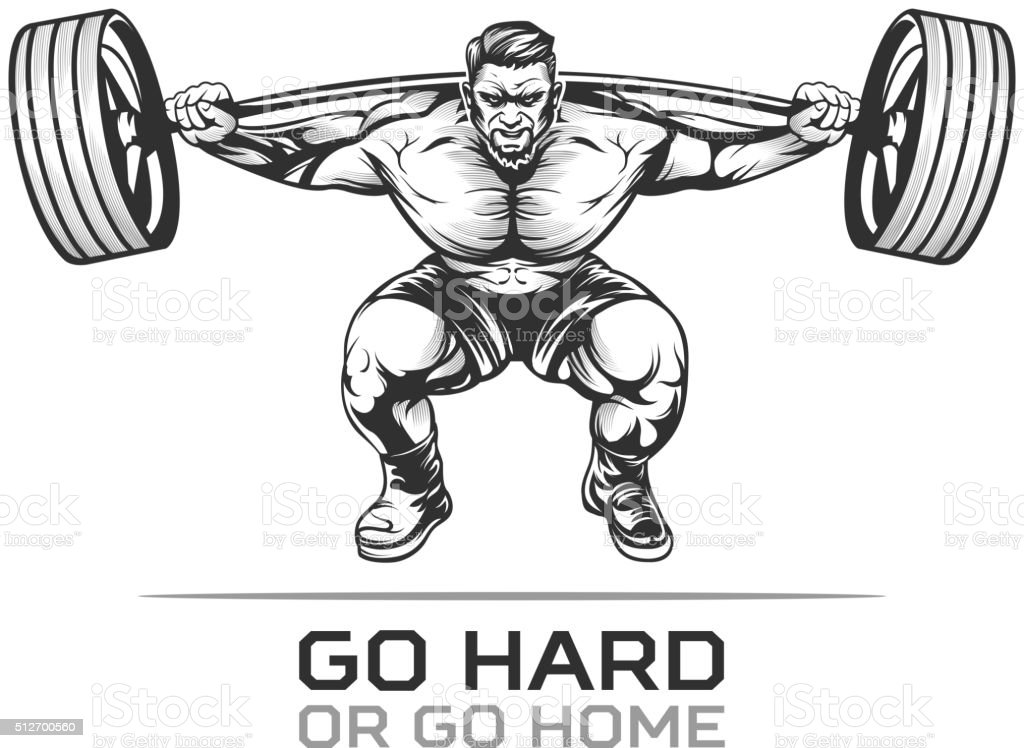 Athlet bodybuilder with barbell vector art illustration