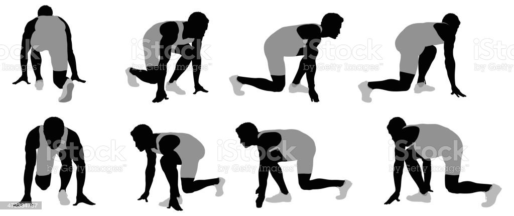 Athlete at starting block royalty-free stock vector art