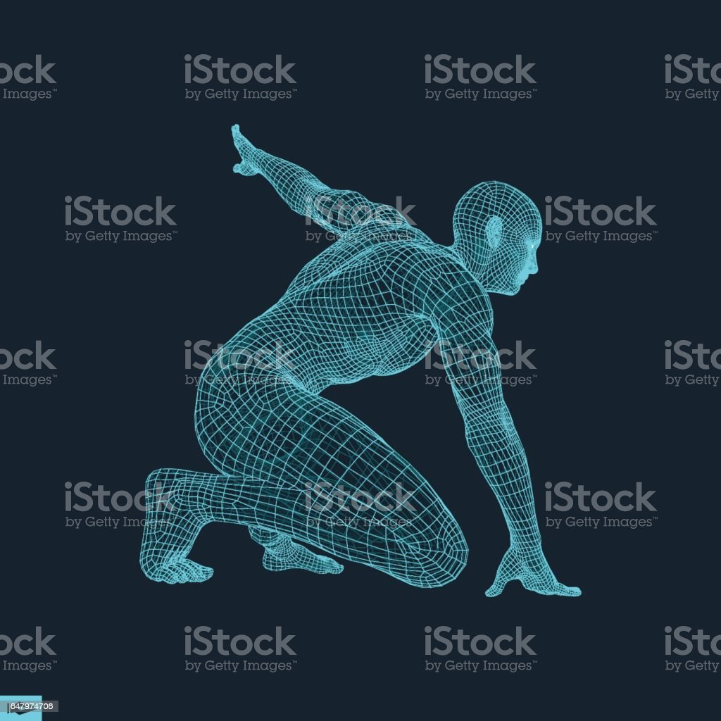 Athlete at Starting Position Ready to Start a Race. Runner Ready for Sports Exercise. vector art illustration