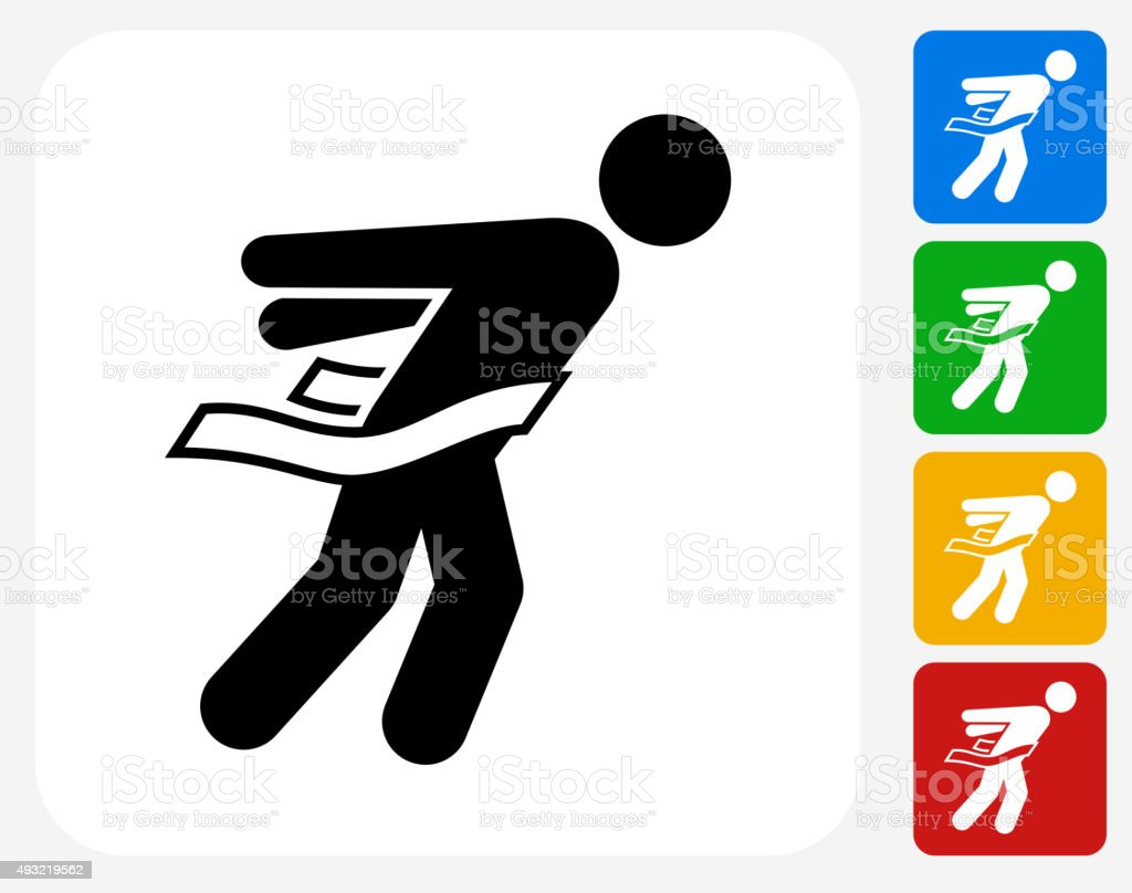Athlete Crossing Finish Line Icon Flat Graphic Design vector art illustration