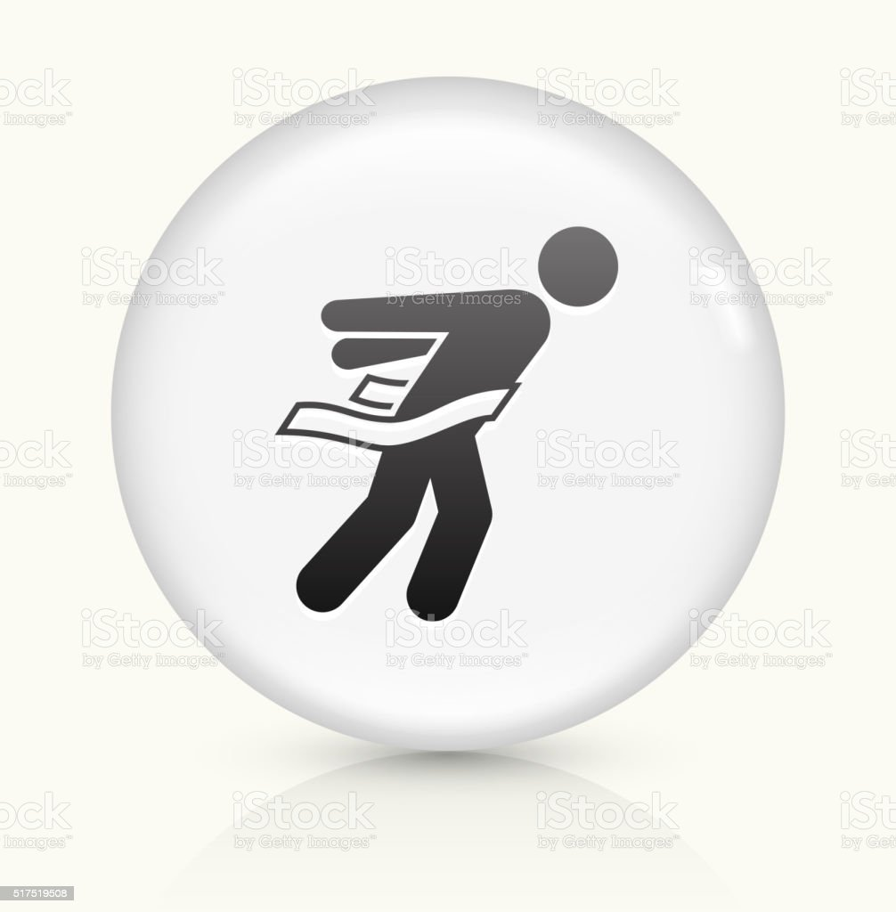 Athlete Crossing Finish Line icon on white round vector button vector art illustration
