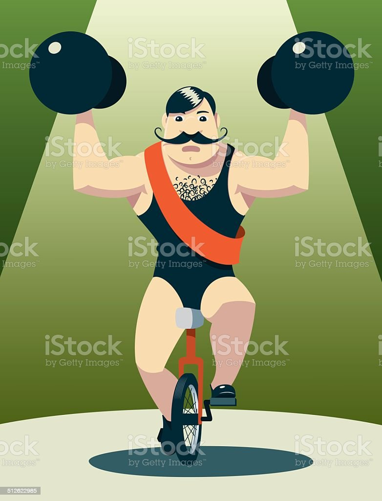 Athlete on unicycle in spotlight vector art illustration