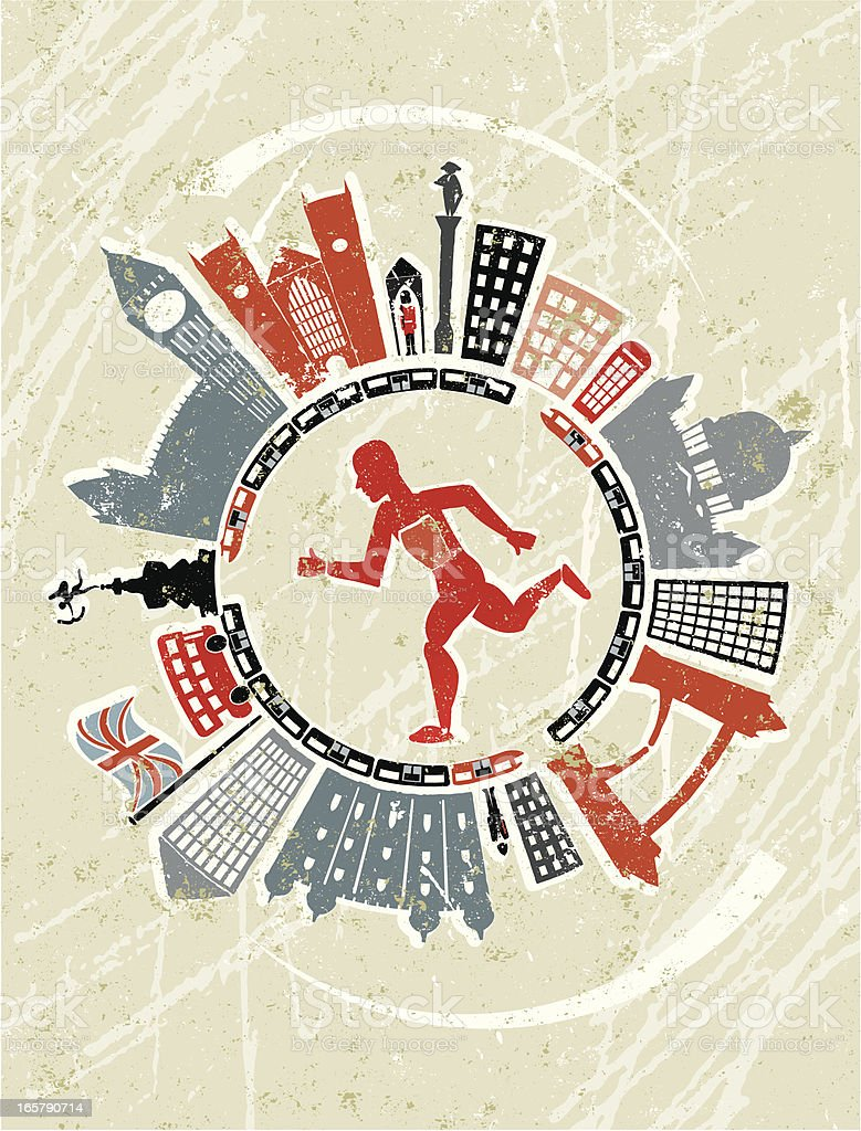 Athlete Running in London vector art illustration