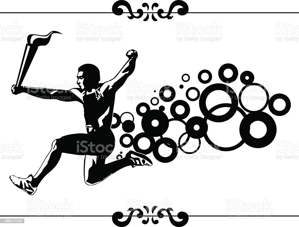 athlete running with torch vector art illustration