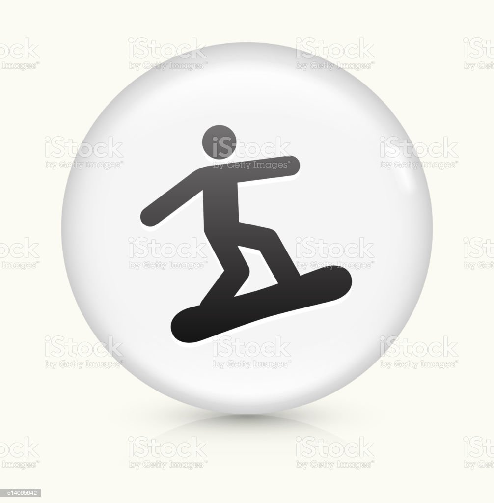 Athlete Snowboarding icon on white round vector button vector art illustration