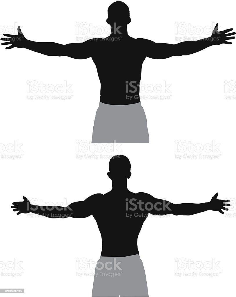 Athlete standing with his arms outstretched royalty-free stock vector art